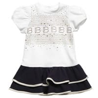 Laura Biagiotti Dolls White Cotton Jersey Diamante Dress
