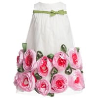 Lesy Ivory Silk and Tulle Dress with Pink Roses