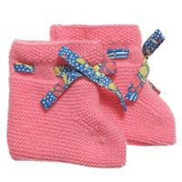 Liberty London Baby Girls Pink Knitted Cashmere Knitted Bootees