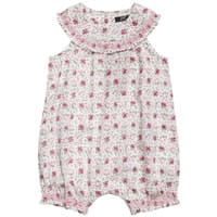 Lili Gaufrette Baby Girls Pink Floral Cotton Shortie