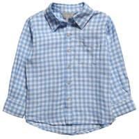 Little linens Boys Blue Gingham Linen Long Sleeve Shirt