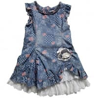 Pampolina Blue Floral and Broderie Anglaise Dress