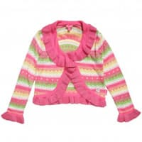 Pampolina Girls Pink Stripe Viscose Knitted Cardigan