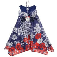 Parrot Blue Floral Cotton Dress And Top Set