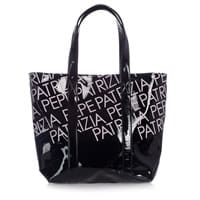 Patrizia Pepe Girls Black Vinyl Shoulder Bag (40cm)