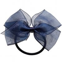Peach Ribbons Dark Blue Organza Bow Hair Elastic (12cm)