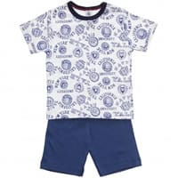 Petit Beateau Blue Cotton Jersey Short Pyjamas
