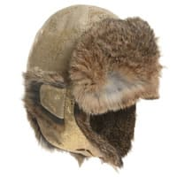 Petit Nord Antique Gold Leather Hat with Fur