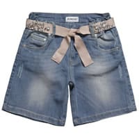 Pinko up Girls Denim Shorts with Ribbon Belt