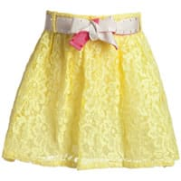 Pinko up Girls Yellow Lace Cotton Skirt
