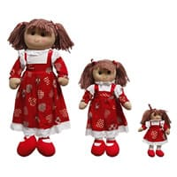 Powell craft Traditional Soft Rag Doll with Heart Dress in 3 Sizes (20cm-60cm)