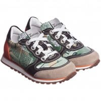 john galliano Boys Leather Gazette Print Trainers