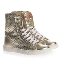 MAA Gold Perforated Leather High Top Trainers