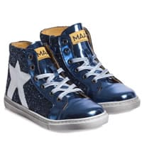 MAA Metallic Blue Glitter High Top Trainers