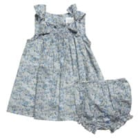 Malvi & Co Isi Baby Blue Floral Cotton Dress with Bloomers