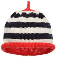 Merry Berries Blue Striped Cotton Knitted Hat