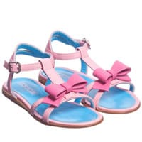 Mi Mi Sol Girls Pink Leather Bow Sandals