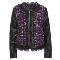 Microbe by Miss Grant Black Faux-Leather & Knitted Jacket