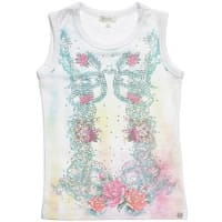 Microbe by Miss Grant Girls Floral and Diamante Cotton Top