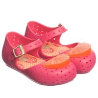 Mini Melissa Pink Jelly Shoes with Orange Slice