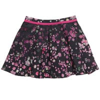 Mini Preen Black Cotton Skirt with Pink Floral Print