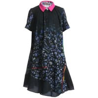 Mini Preen Black Satin Dress with Floral Print