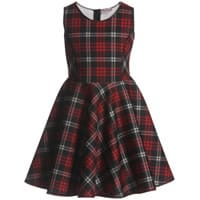 Monnalisa Red Tartan Neoprene Dress