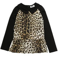 Moschino Girls Cotton Leopard Top