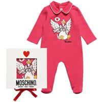 Moschino Girls Pink Cotton Babygrow with Gift Box