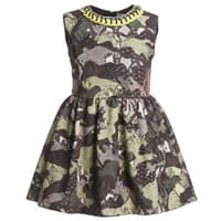 Msgm Green Camouflage Patchwork Python Dress