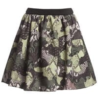 Msgm Green Camouflage Patchwork Python Skirt
