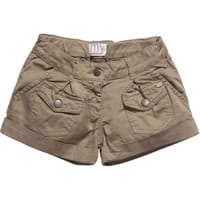 My Collections Girls Brown Cotton Shorts
