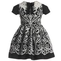 Quis Quis Black and Ivory Dress With Crochet Collar