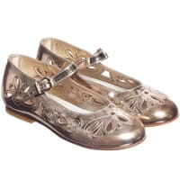 Quis Quis Girls Gold Metallic Leather Shoes