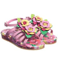Quis Quis Girls Pink Floral Leather Wedged Sandals