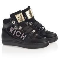 Richmond Jr Black Leather and Diamante High-Top Trainers