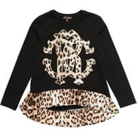 Roberto Cavalli Black Leopard Trim Cotton Jersey Top
