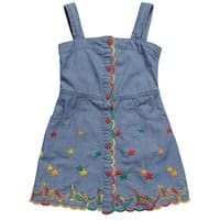 Stella McCartney Kids Blue Cotton Dress with Embroidery
