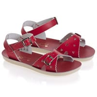 Sun-San Sandals Girls Red Leather Salt Water Sandals With Buckles (Sweetheart)