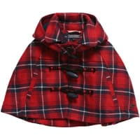 Tommy Hilfiger  Girls Red 'Check Wool Mini Cape'