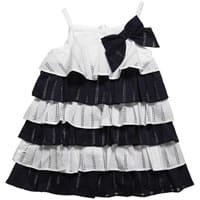 Tutto Piccolo Navy Blue and White Broderie Anglaise Dress