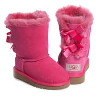 ... Ugg Australia Girls Pink Sheepskin Boots With Bows ...