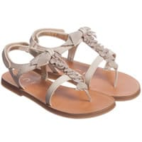 Unisa Girls Beige Leather Sandals with Bow