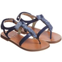 Unisa Girls Navy Blue Leather Sandals with Bow