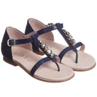 Unisa Girls Navy Blue Leather Sandals