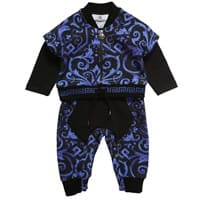 Young Versace Baby Boys Blue Cotton Romper