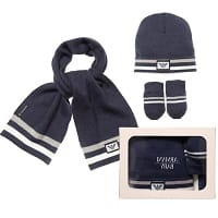 Blue Knitted Baby Hat, Scarf and Mittens Set