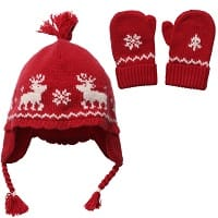 Baby Girls Red Nordic Knitted Hat & Mittens