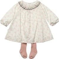Floral Smocked Dress with Pink Tights