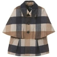 Girls Cashmere and Wool Check Cape